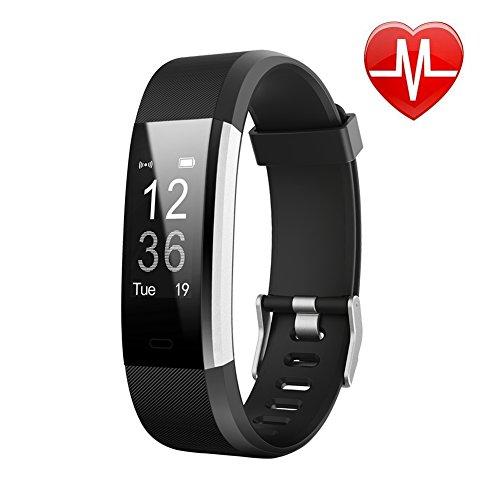 letscom fitness tracker hr - orologio tracker di attività fisica con cardiofrequenzimetro, impermeabile ip67, con contapassi, pedometro, monitoraggio del sonno, per android e ios, 115plushr-black