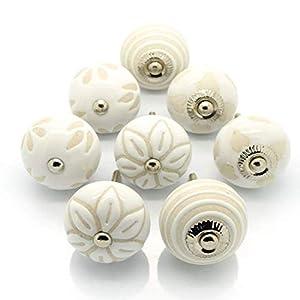 Pushka Home Satz von 8 Keramik Creme Weiß Beige Schrank Türgriffe. Packung zu 8 X 40 mm Vintage Stil Schablone Griffe…