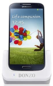 Donzo USB Dockingstation für Samsung Galaxy S4 GT-I9500/GT-I9505 mit Ladestation Akkufach/USB Datenkabel/Ladegerät weiß