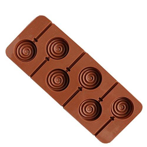 Winkey Kuchenform, 6Tassen braun Silikon Lutscherform DIY Schokolade Kuchen Dekoration Form, Backblech Schimmel Küche, Candy Backen Tools Geschenk für Baby Kinder B (Candy Pop Schimmel)