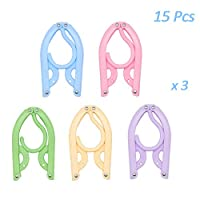 Creatiees Portable Folding Clothes Hangers for Travel, Clothes Drying Rack with Anti-slip Groove for Outdoor Camping Hiking - Lightweight & Extra-Large(Pack of 15, 5 Colors)