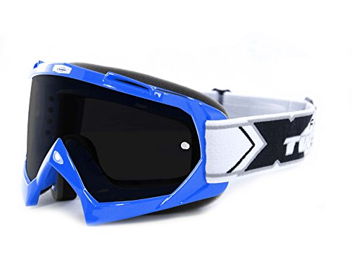 TWO-X Race Crossbrille blau Glas getönt schwarz grau MX Brille Motocross Enduro Motorradbrille Anti Scratch MX Schutzbrille