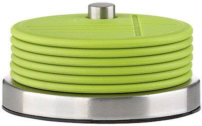 7-tlg. Glasuntersetzer-Set CONFETTI Edelstahl / Silikon Lime Grün