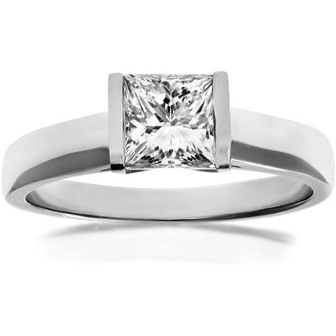 Naava–Anello di fidanzamento in oro bianco, diamanti con certificato J/I1, taglio Princess, oro bianco, 53 (16.9), cod. PR9154(M)