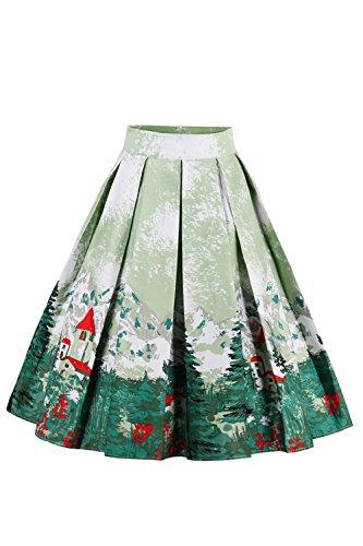 Damen A Linie Rock Midi Rock Blumen Kleid mit Tellerrock Rose Knielang Grün S (Rose Blumen-rock)