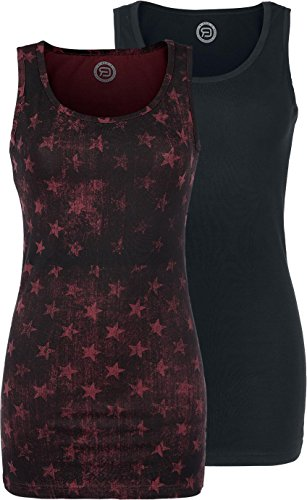 R.E.D. by EMP Stars Allover - Double Pack Top donna bordeaux/nero XXL