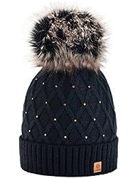 morefaz Femme Beanie Cristaux Chapeau Hat Crystal Grande Pom Pom Bonnet  d\u0027hiver Chaud Doublure