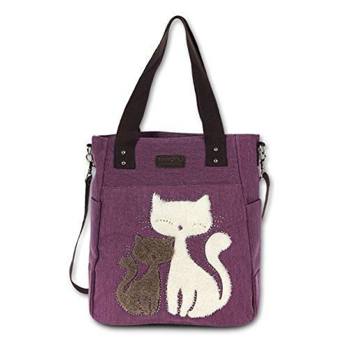 Beuteltasche Hobo Bag Canvas violett Cats Handtasche Schultertasche Motiv Katzen Manoro® Vintage and Vogue OTK217V