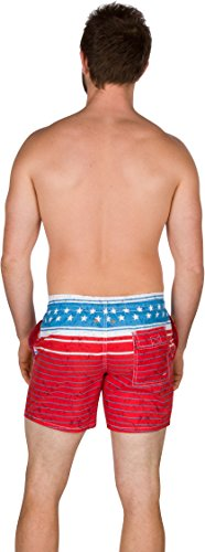Sakkas Eli Kurz 3 Tasche Zwei-Ton Skate Surfbrett Short / Badehose amerikanische Flagge