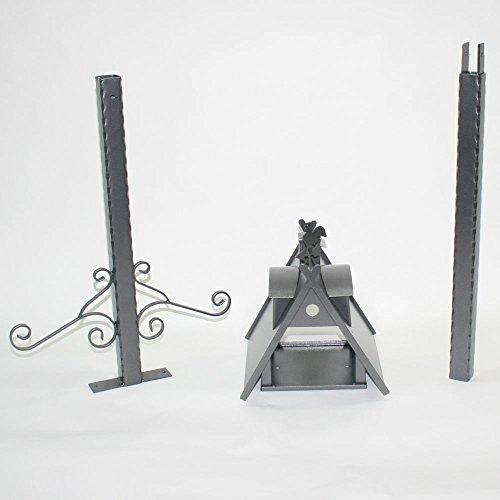 Vogelhaus XXL mit Ständer aus Metall (Farbe: silber-antik) - 5