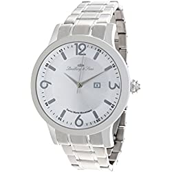 Lindberg & Sons - LSSM201B - wrist watch for men - white dial - stainless steel bracelet - quartz movement analog display - Swiss made