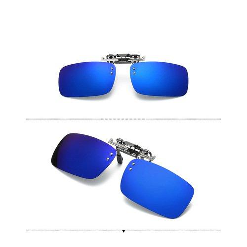 CaiyuanggOne-piece Sonnenbrillen-Clip, Polarisierende Flip Up UV400 Sonnenbrille Clip On,Sonnenbrillen-Clip für Brillenträger (Blau)