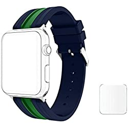 J D13 Replacement Soft Silicone Strap Bands For Apple Watch iWatch Series 1, Series 2 , Series 3 38MM Green Mid Night Blue Blue Plus Screen Guard (Watch Not Included)