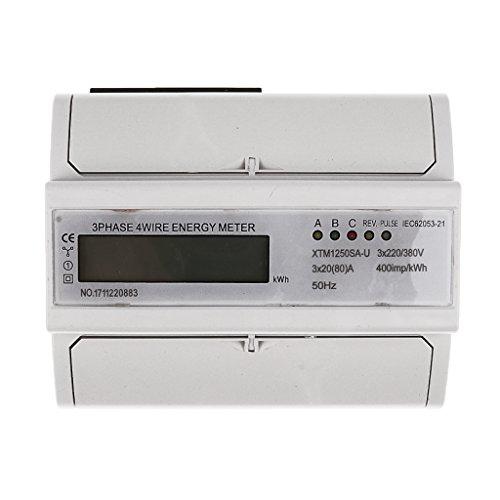 MagiDeal Stromzähler Elektrozähler Strom zähler Wattmeter Digitale kWh Meter - 3 Phase 4 Wire 20(80) A LCD -