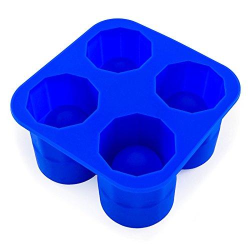 4 Ice Shot-Gläser, Silikonform, Stamperl, gefrorene Becher, Gin, Vodka und Whiskey, Party-Highlight, Schnee-Bar, Cookie-Shots, Schnaps, Likör, Drink, Feier, Eiswürfel, Cocktail, Glas, Farbe: Blau (Becher Cookie)