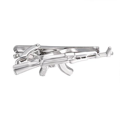 Yoursfs Gun Krawattenklammer Personalisierte Mini-Neuheit-Edelstahl-Riegel-Klipp in Bar einer Maschinenpistole Krawatten für Männer/Herren Geschenk