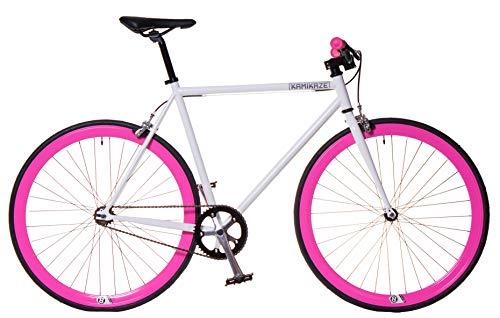 Kamikaze Bicicleta Fixie Blanca Rosa M