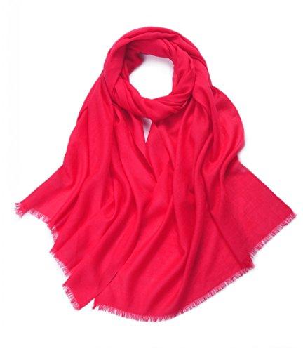 Prettystern - 100% Wolle Einfarbig Kurze Fransen Feine Fäden 80 Garn Pashmina Stola Schal - Rot