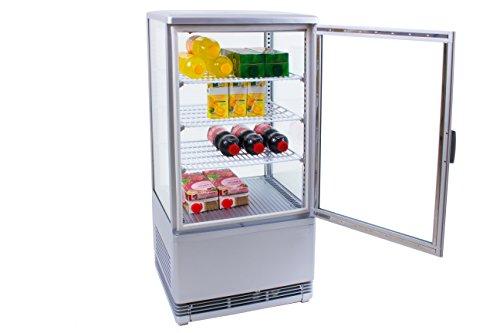 Zorro - Kühlvitrine silber Kuchenvitrine Gastro - 70 Liter - R600A - 4-Seitig Doppelverglast