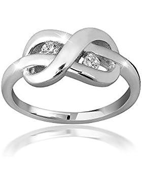 MATERIA Schmuck Damen Ring Unendlichkeit Schleife silber - 925 Silber Ring Zirkonia weiß inkl. Ring Box #SR-38