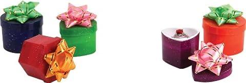 48x Hat Ring Boxen–sortiert Glitter Farben & Formen (bd3461)