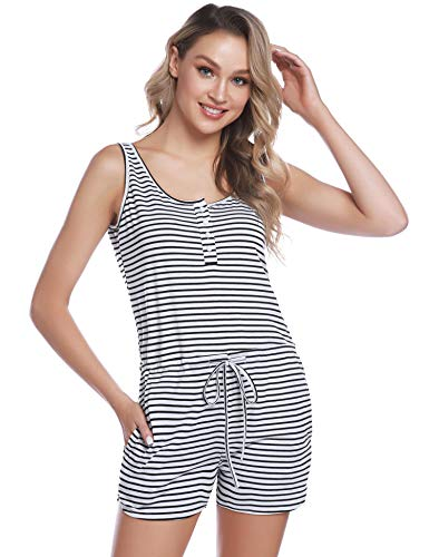 IClosam Pijama Mujer Verano Mono Algodon Pijama Raya