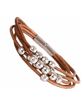 Stilvolles Leder Armband für Damen silberfarbene Perlen Manschette mit Magnetverschluss 18