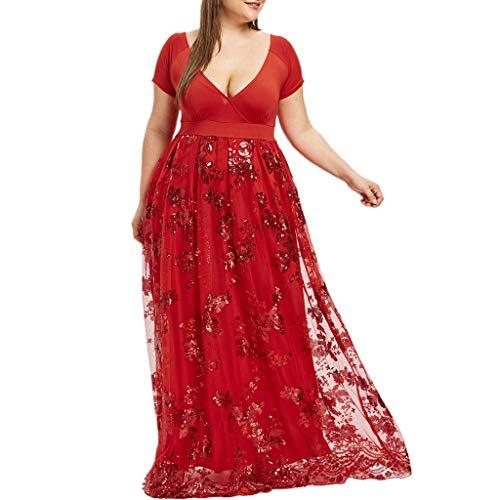 LILIHOT Frauen Plus Size V-Ausschnitt Kurzarm Floral Pailletten Abend Party Mesh Kleid Damen Kleid Ärmellos Minikleid Cocktailkleid Pailletten Partykleid Lässige Kleidung Frauenkleid Kleid -