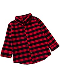 c36b32336346 Kids Baby Boys Girls Toddler Clothes Letters Print Long Sleeve Coat Button  Down Plaid Shirt Outfits