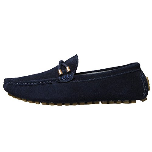 ODEMA hommes de conduite Appartements à enfiler mocassin Flâneur Chaussures Bleu (fourrure)