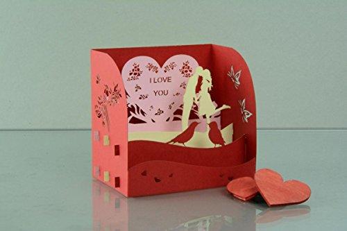 Geburtstag Hochzeit 3-D Pop Up Grußkarte Liebe in Paris Handmade 17x10cm