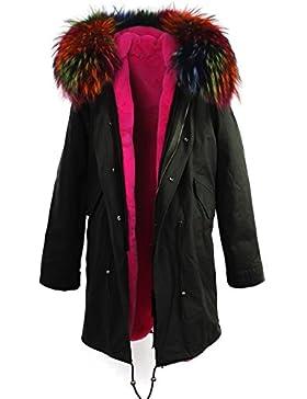 S.ROMZA mujer abrigo con capucha invierno - Forro de pelaje de conejo extraíble - Cuello extraíble de piel de...