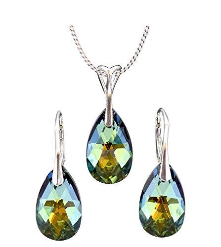 Crystals & Stones *MANDEL* Schmuck-Set *VIELE FARBEN* Silber 925 Schön Damen Schmuckset mit Kristallen von Swarovski Elements - Wunderbare Ohrringe und Halskette mit Geschenkbox (Sahara)