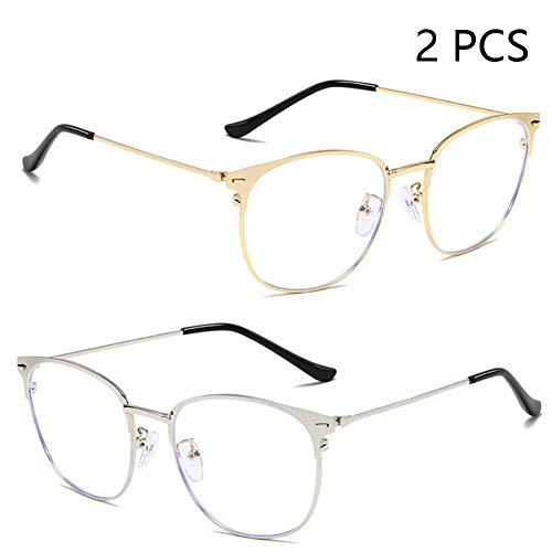 Neue Anti-Blau-Brille, Anti-UV-Mode Metallrahmen, Männer Und Frauen Allgemeine Computerspiele Anti-Radiation Anti-Fatigue-Brille,1+2