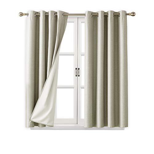 Deconovo Gestreift Strukturierte Tülle Verdunklungsvorhänge mit Weiß Beschichtet Isoliert Futter für Wohnzimmer 52x45 inch Beige -