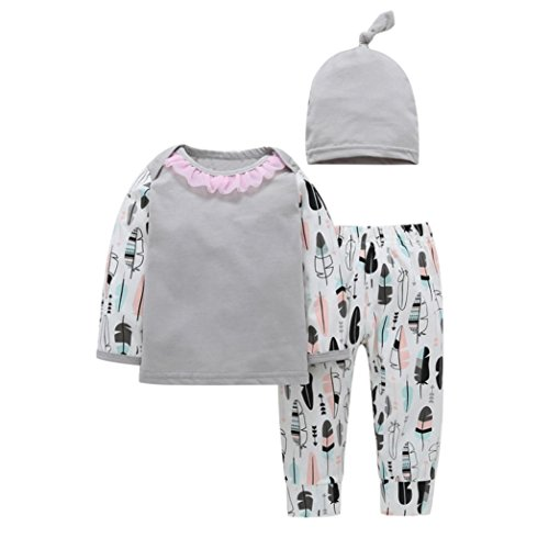 Jamicy® Neugeborenes Kind Baby Letter Spielanzug Tops + Herz + Hosen + Hut Outfits Kleider Set (18Monat) (Hello Kitty Outfit Ideen)