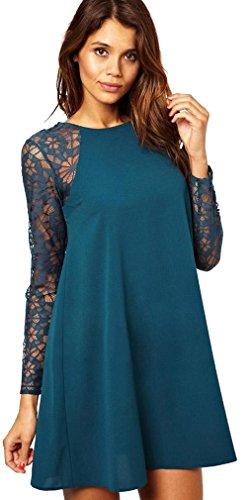 Yinxiang Liying -  Vestito  - Triangolo - Maniche lunghe - Donna Verde scuro