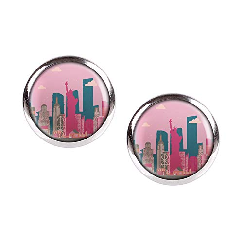 Mylery Ohrstecker Paar mit Motiv Skyline New York Big Apple Freiheits-Statue Empire State silber 12mm