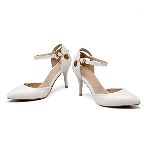 AllhqFashion Damen Pu Leder Rein Spitz Zehe Schnalle Stiletto Pumps Schuhe Weiß