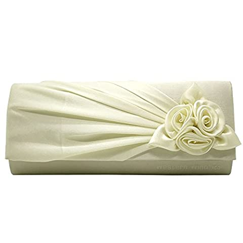 Wocharm (TM) Womens Satin Rose Bouquet Pattern dinner banquet bag Wedding Party Prom Evening Clutch Bag Handbag (Ivory Pleated)