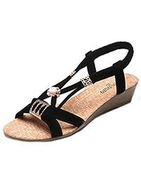 Sandalen Damen,Binggong Frauen Wedges Schuhe Böhmen Perlen Freizeit Lady  Sandalen Peep-Toe Outdoor 9446a5188b