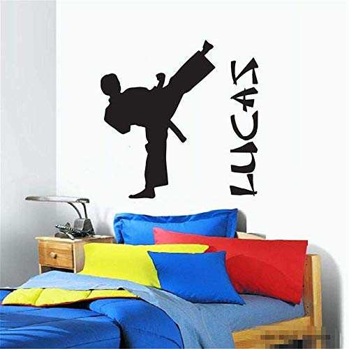 dtattoo Wohnzimmer Personalisierte Boy Name Diy Kindergarten Boys Karate Taekwondo für Kinderzimmer Teen Schlafzimmer für Kinderzimmer Kinderzimmer ()