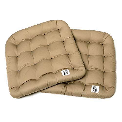 Farbe Trockner (Have a Seat Luxury 2er Set Sitzkissen beige, waschbar im Ganzen bis 95°C, Outdoor/Indoor, weich + robust, Pflegeleicht, Gartenstuhl, Trockner geeignet-Premium Qualität-Farbe wählbar)