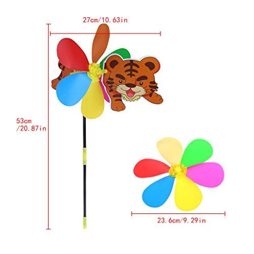 wifun Cartoon-Tier Windmühle Wind Spinner Home Garten-Yard im Decor (zufällige Farbe)