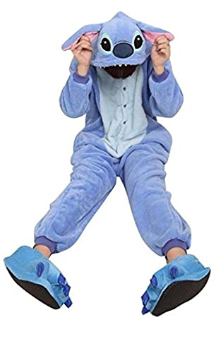 Winter Warm Flannel Onesie Pajamas Adult Unisex One Piece Blue Stitch Pajama (S (155-160cm))