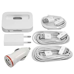6in1 Set für Apple iPhone 4 4G 4S 1M 2M 3M USB Datenkabel Ladekabel Netzstecker Netzteil Dock Dockingstation KFZ Ladegerät Adapter Weiß BC4