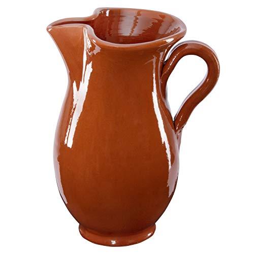 MamboCat 1.9L Tonkrug braun-glasiert | kühlende Wein-Karaffe | Sangria-Kanne rustikal | Ton-Geschirr für antike Gastronomie & Mittelalter-Feste | Bier-Krug