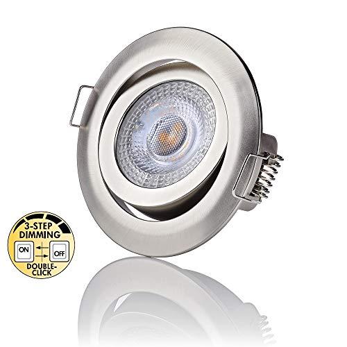 sweet-led 6er Pack Three(3)-STEP-Dimming LED Einbaustrahler dimmen ohne Dimmer Decken Einbauleuchte dimmbar weiß/chrom-nickel lackiert rund kaltweiß 6500K 5W 230V 400Lumen (6erXchrom-nickel-kaltweiß)