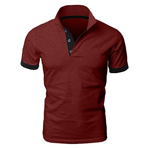 KPILP Herren Polo Shirt Top Blusen Mode Lässig Patchwork Shirt Doppel Farbe T-Shirts Tuniken Oberteile(A-Wein,EU-42/CN-M)