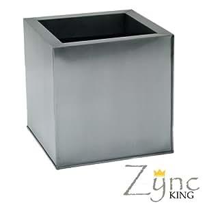 Zinc Cube Planter Silver 60x60x60cm